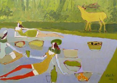 2014 - Picknick mit Rotwild - 100 x 160 cm