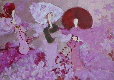 2015 - Frauen mit rosa Blumen - 100 x 150 cm