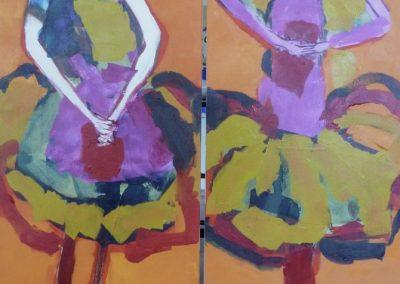 2015 - Mädchen auf Orange - je 120 x 40 cm
