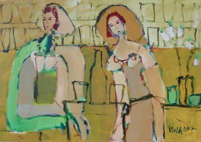 2017 - Zwei Frauen an der Bar - 50 x 80 cm