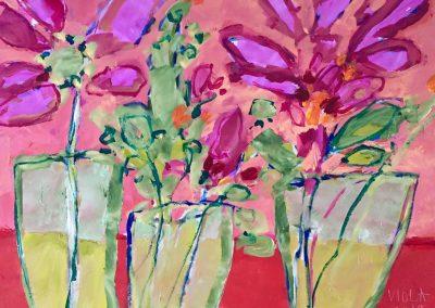 2019 - Blumen in Vasen - 110 x 90 cm