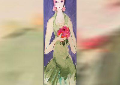 2019 - Junge Frau mit Blumenbouqet - 124 x 40 cm