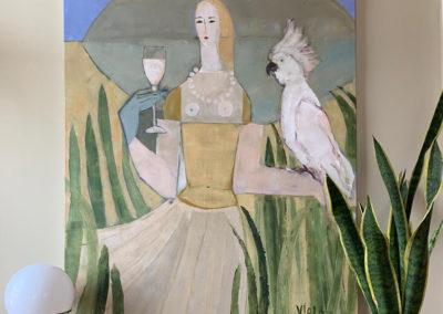 2020 - Frau mit Kakadu 120 x 90 cm
